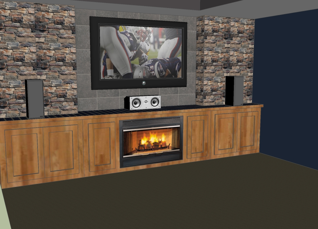 fetching sheetrock entertainment center. Need advice on how to incorporate TriTrix MTM kits into a wall