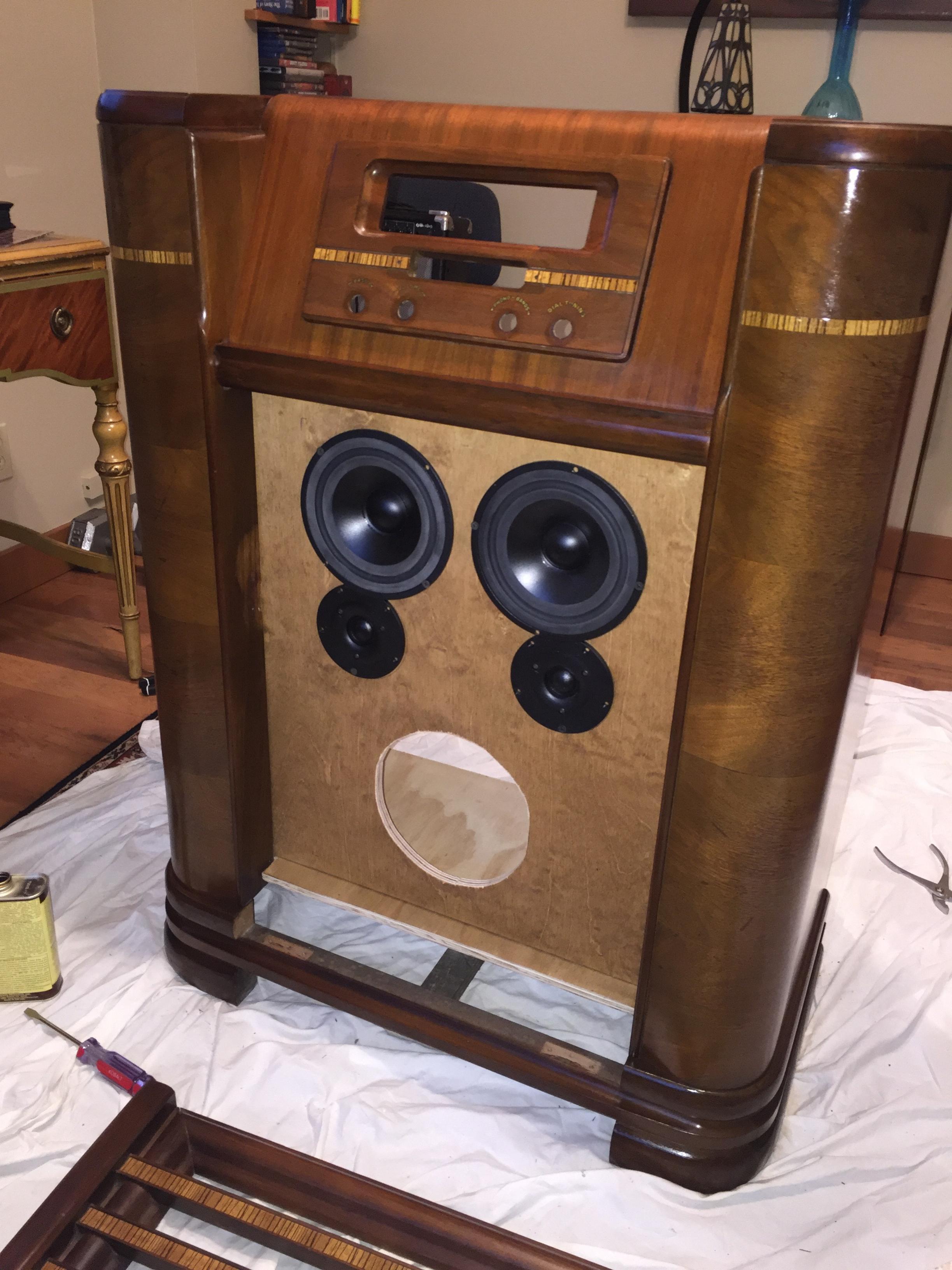 Old radio cabinet repurposed into speaker - Techtalk ...