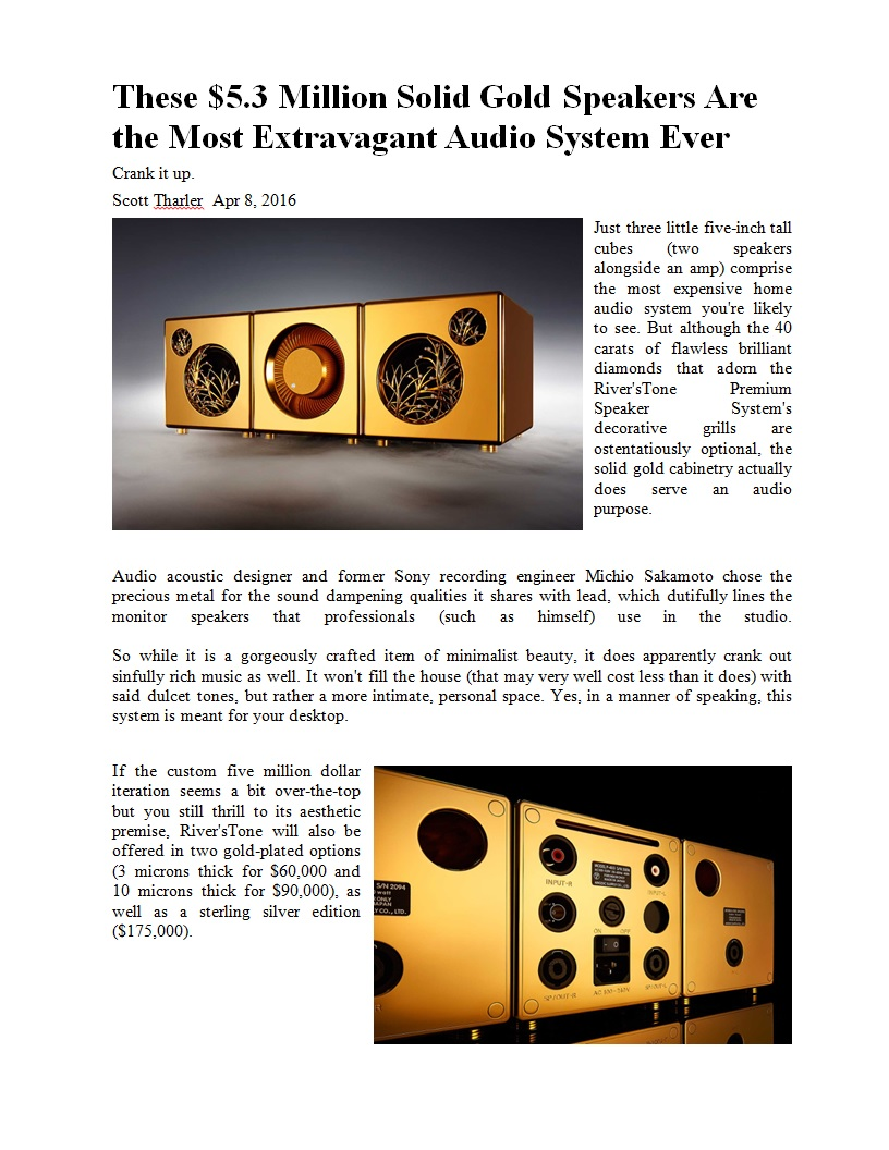 A New Record For The Most Expensive Speakers Techtalk Speaker Building Audio Video Discussion Forum