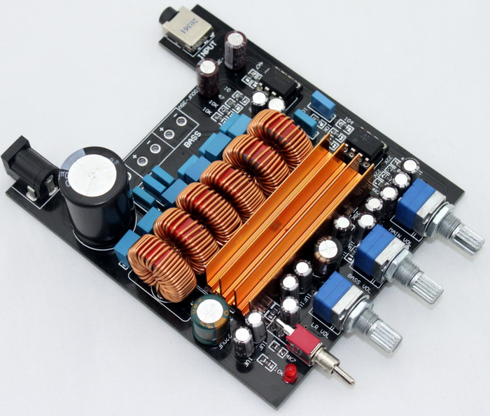 TI TPA3116 based 2.1  digital amp. I've reverse engineered this amp and modified it to suit my needs (schematic available).